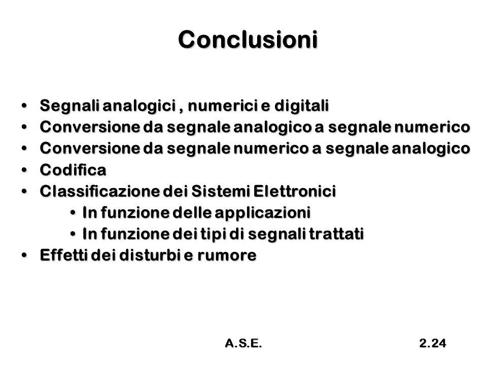 Conclusioni Segnali analogici , numerici e digitali