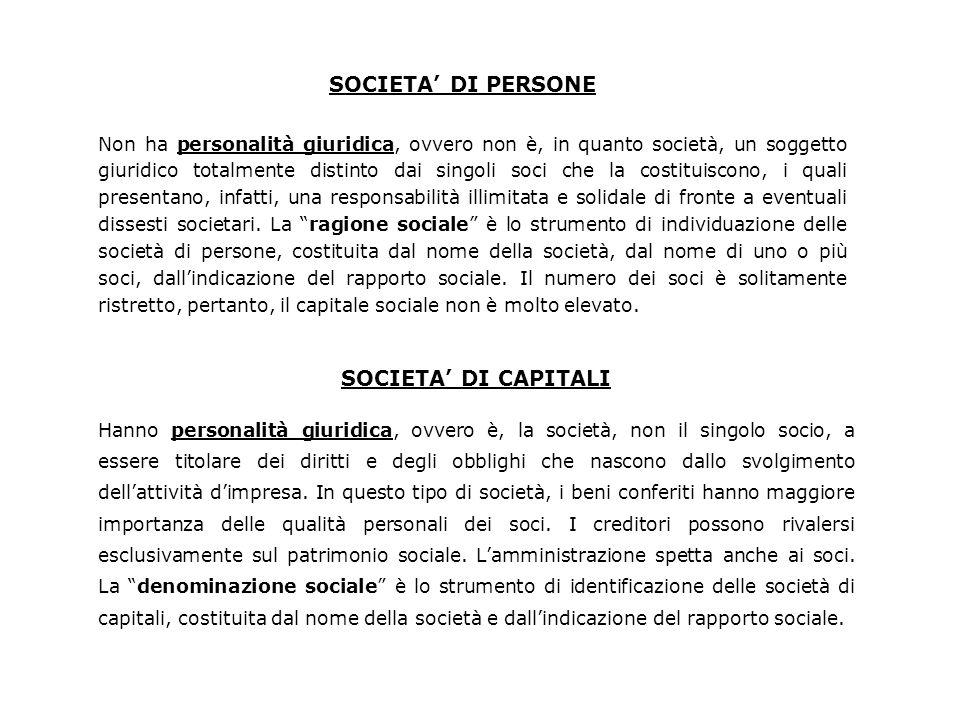 SOCIETA' DI PERSONE SOCIETA' DI CAPITALI