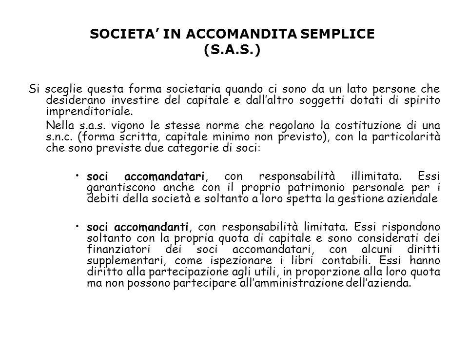 SOCIETA' IN ACCOMANDITA SEMPLICE (S.A.S.)