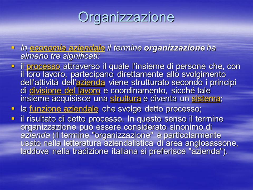 Organizzazione In economia aziendale il termine organizzazione ha almeno tre significati: