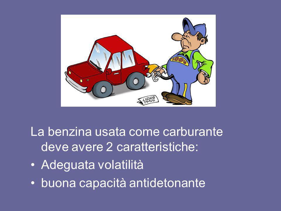 La benzina usata come carburante deve avere 2 caratteristiche: