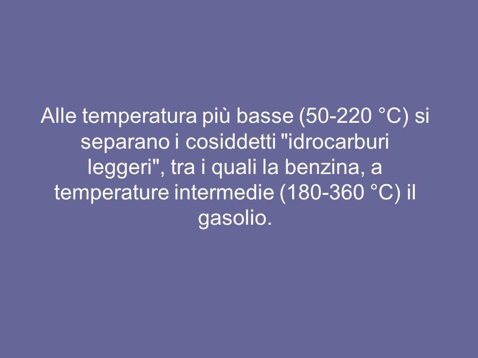 Alle temperatura più basse (50-220 °C) si separano i cosiddetti idrocarburi leggeri , tra i quali la benzina, a temperature intermedie (180-360 °C) il gasolio.