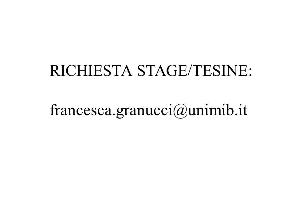 RICHIESTA STAGE/TESINE: