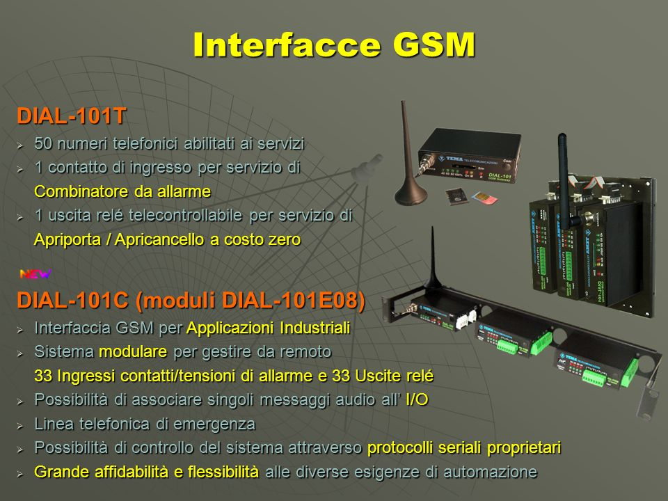 Interfacce GSM DIAL-101T DIAL-101C (moduli DIAL-101E08)