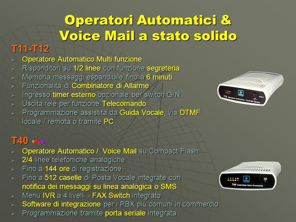 Operatori Automatici & Voice Mail a stato solido