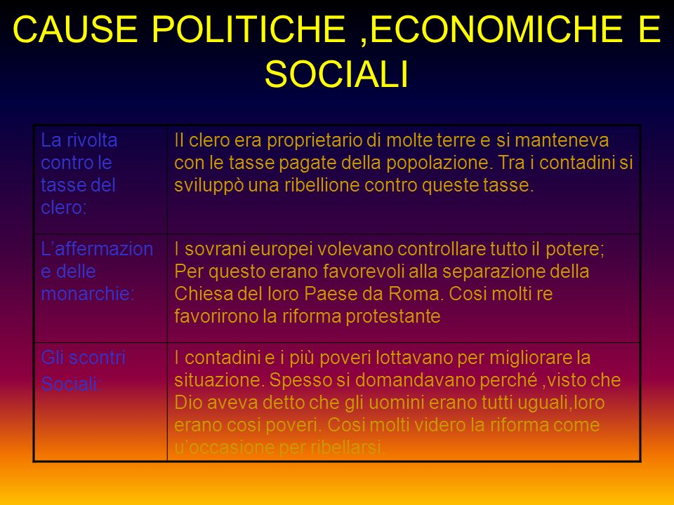 CAUSE POLITICHE ,ECONOMICHE E SOCIALI
