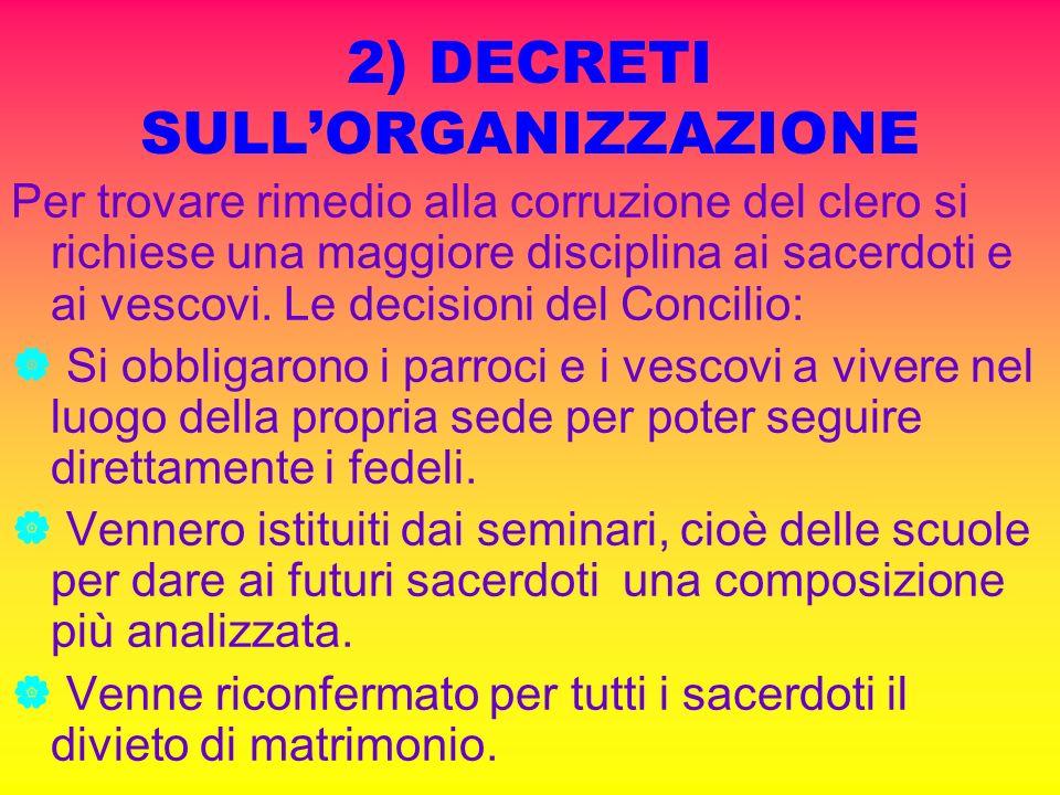 2) DECRETI SULL'ORGANIZZAZIONE
