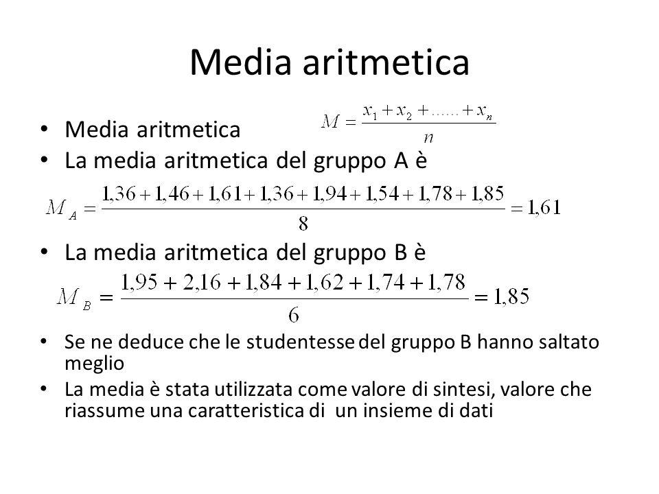 Media aritmetica Media aritmetica La media aritmetica del gruppo A è