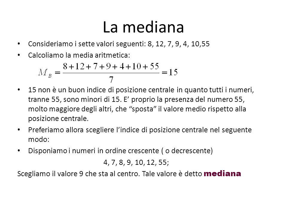 La mediana Consideriamo i sette valori seguenti: 8, 12, 7, 9, 4, 10,55