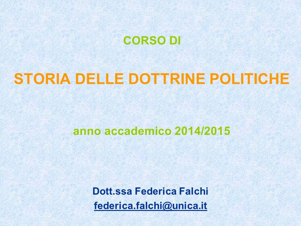CORSO DI STORIA DELLE DOTTRINE POLITICHE anno accademico 2014/2015