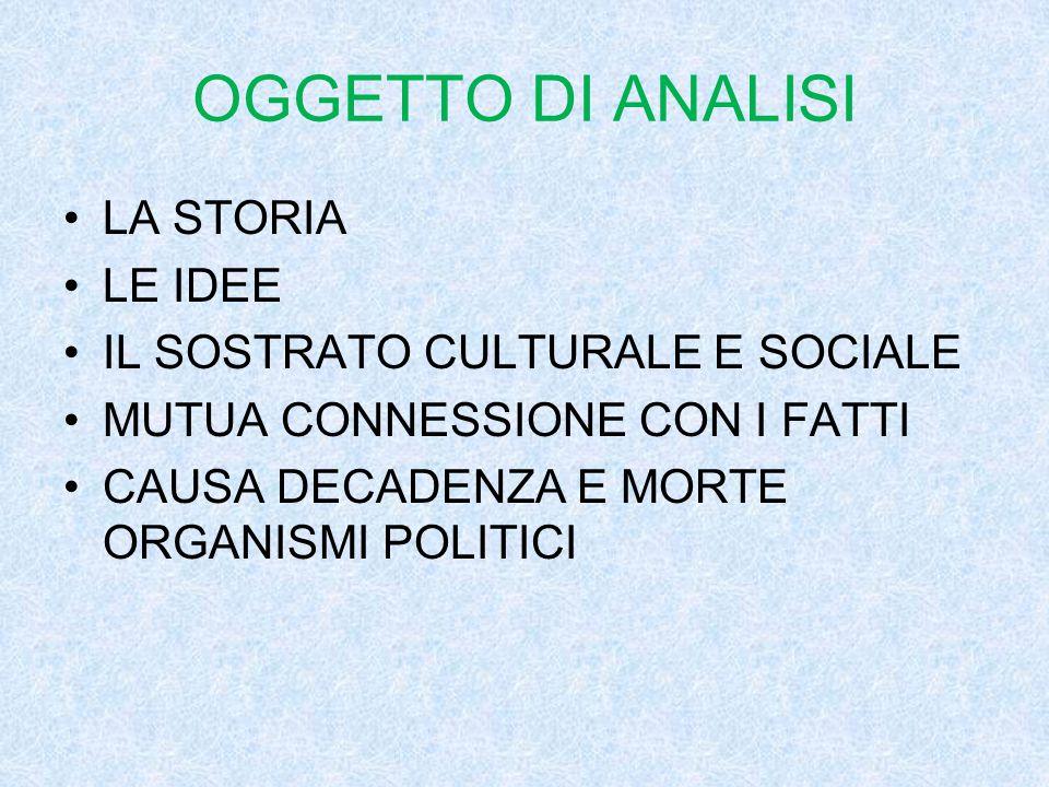 OGGETTO DI ANALISI LA STORIA LE IDEE IL SOSTRATO CULTURALE E SOCIALE