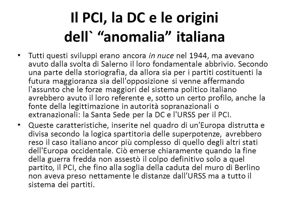 Il PCI, la DC e le origini dell` anomalia italiana