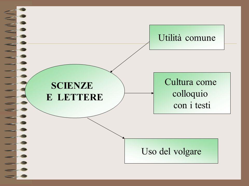 Utilità comune SCIENZE E LETTERE Cultura come colloquio con i testi Uso del volgare