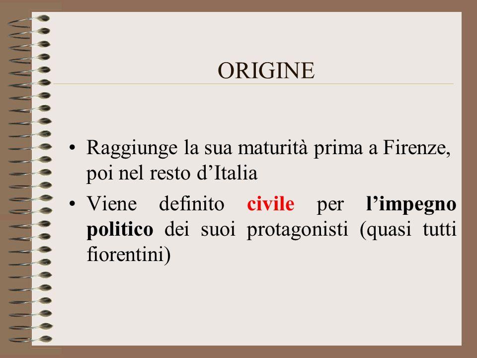 ORIGINE Raggiunge la sua maturità prima a Firenze, poi nel resto d'Italia.