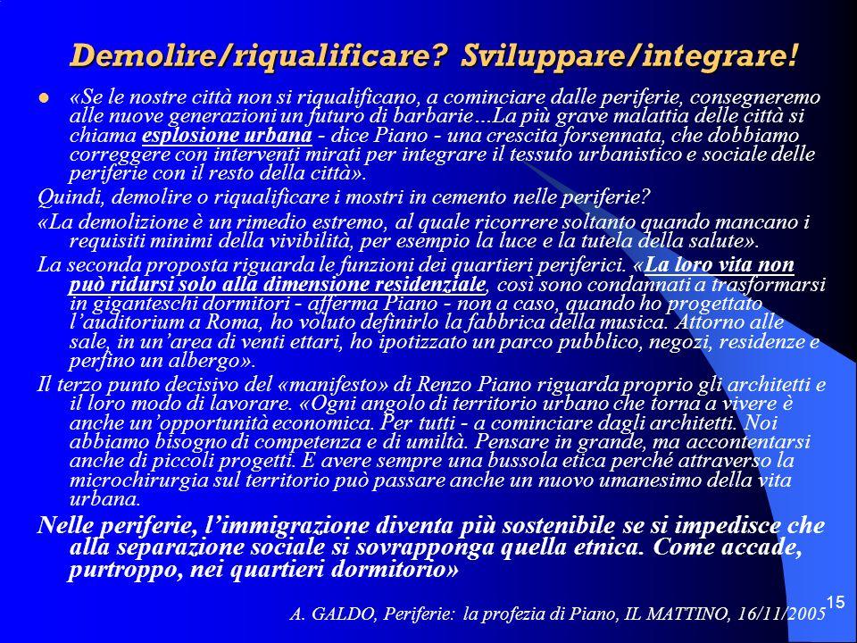 Demolire/riqualificare Sviluppare/integrare!
