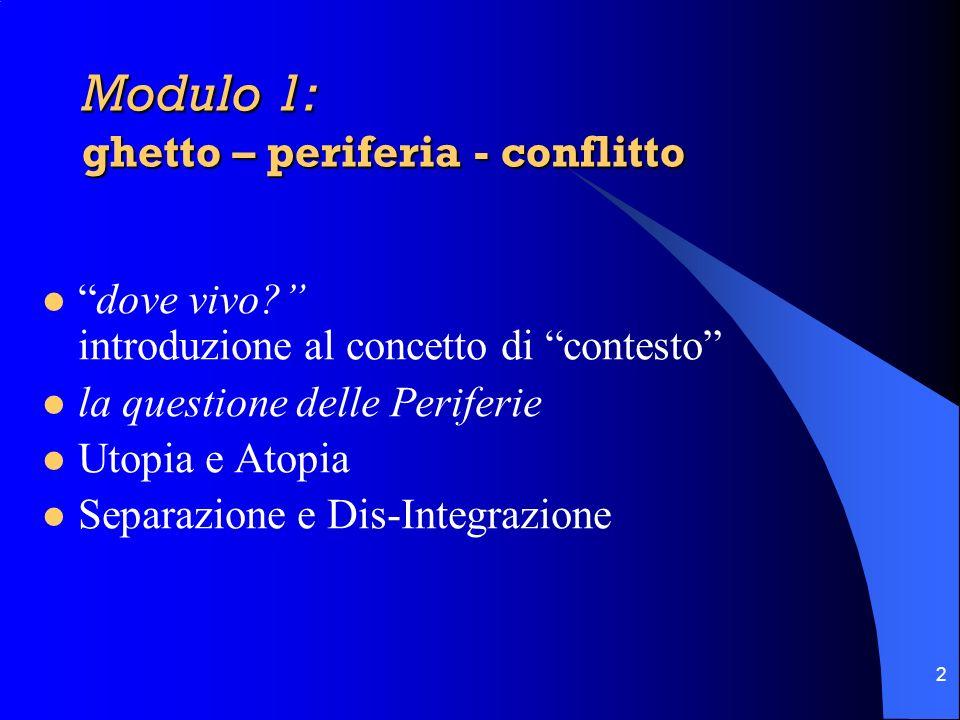 Modulo 1: ghetto – periferia - conflitto