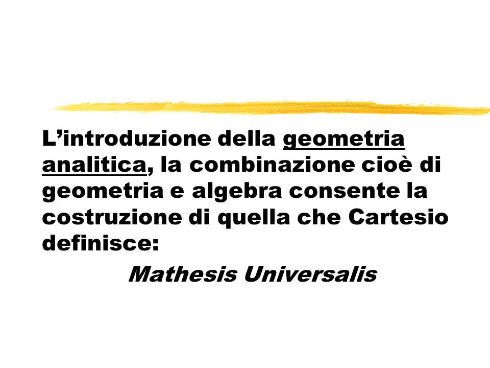 L'introduzione della geometria analitica, la combinazione cioè di geometria e algebra consente la costruzione di quella che Cartesio definisce: