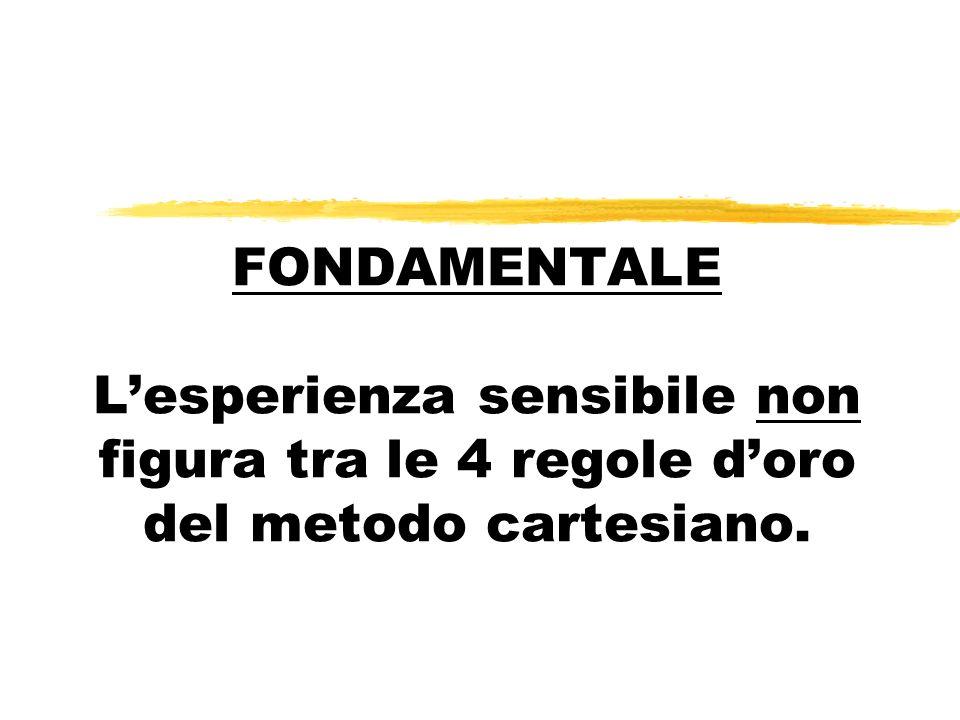 FONDAMENTALE L'esperienza sensibile non figura tra le 4 regole d'oro del metodo cartesiano.