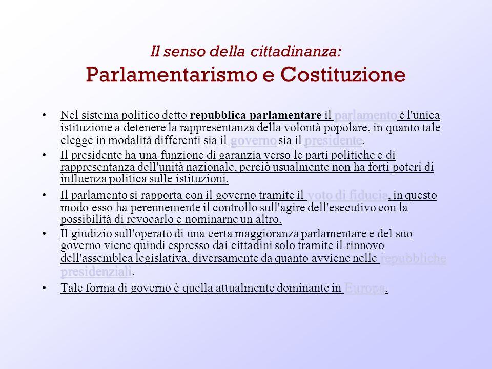 Il senso della cittadinanza: Parlamentarismo e Costituzione