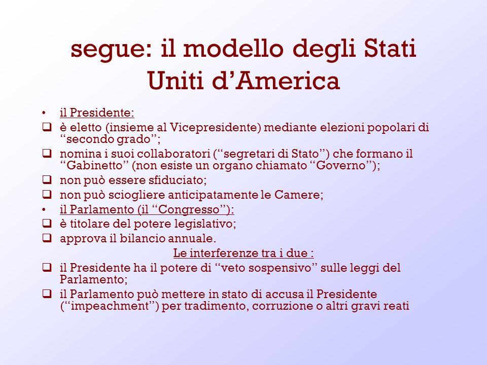segue: il modello degli Stati Uniti d'America