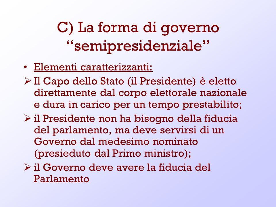 C) La forma di governo semipresidenziale