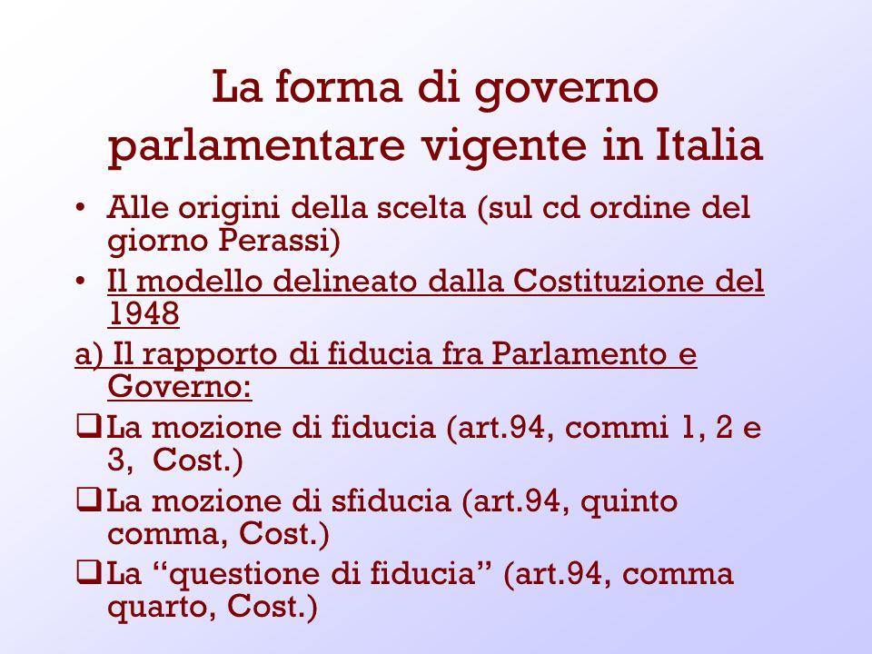 La forma di governo parlamentare vigente in Italia