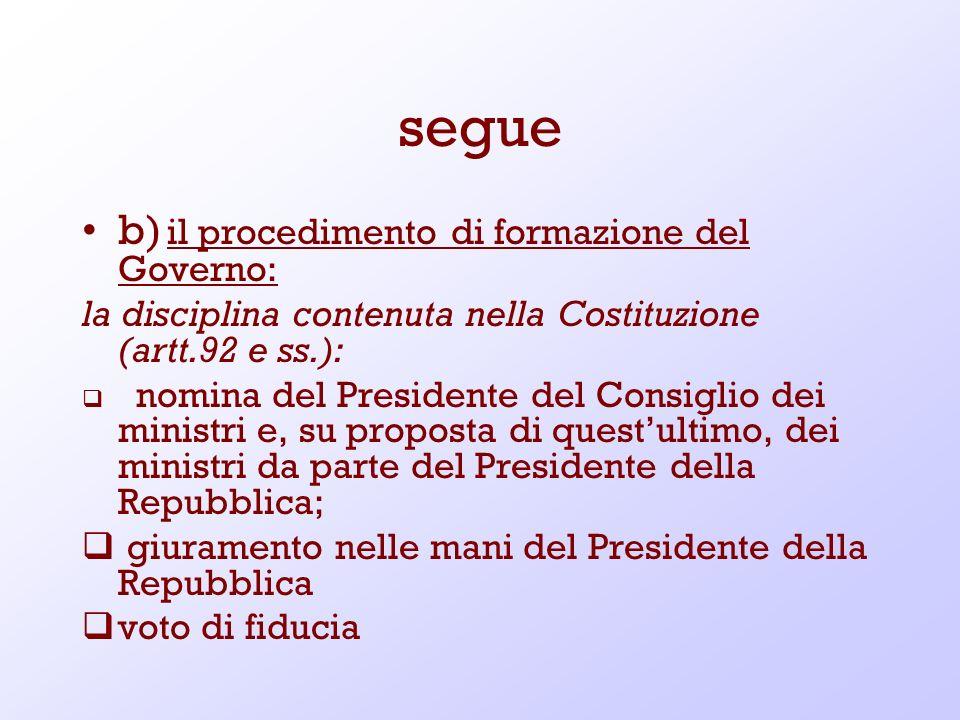 segue b) il procedimento di formazione del Governo: