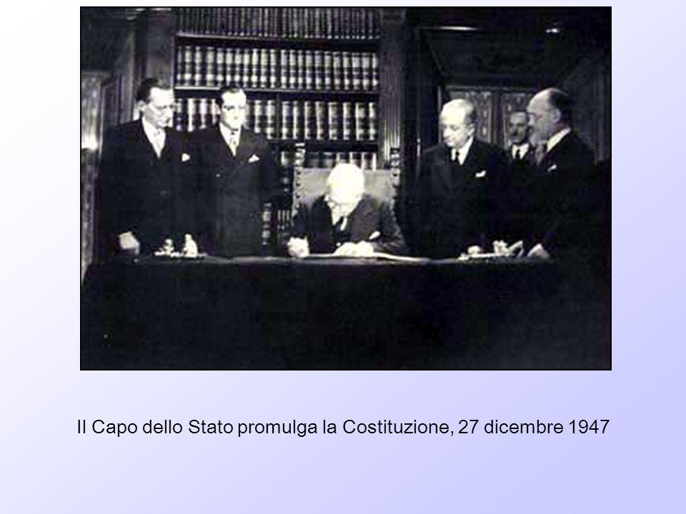 Il Capo dello Stato promulga la Costituzione, 27 dicembre 1947