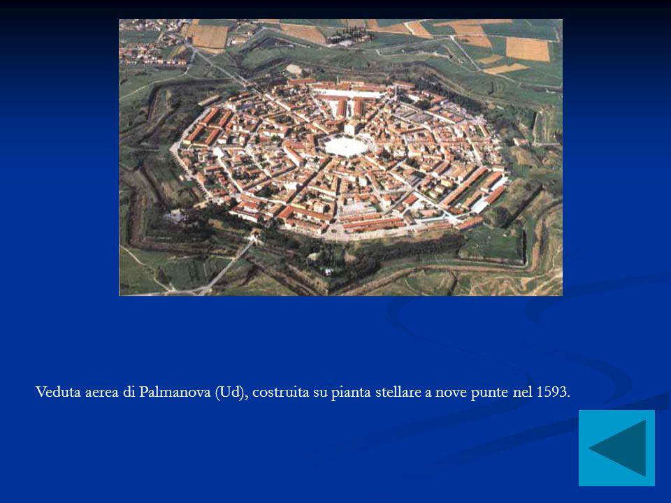Veduta aerea di Palmanova (Ud), costruita su pianta stellare a nove punte nel 1593.