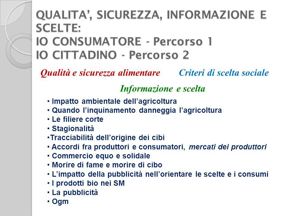 Qualita', sicurezza, informazione e scelte: io consumatore - Percorso 1 io cittadino - Percorso 2