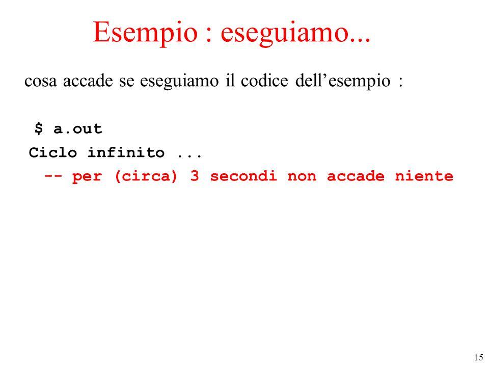 Esempio : eseguiamo... cosa accade se eseguiamo il codice dell'esempio : $ a.out. Ciclo infinito ...