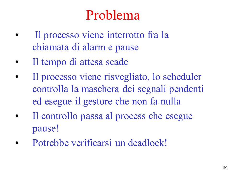 Problema Il processo viene interrotto fra la chiamata di alarm e pause