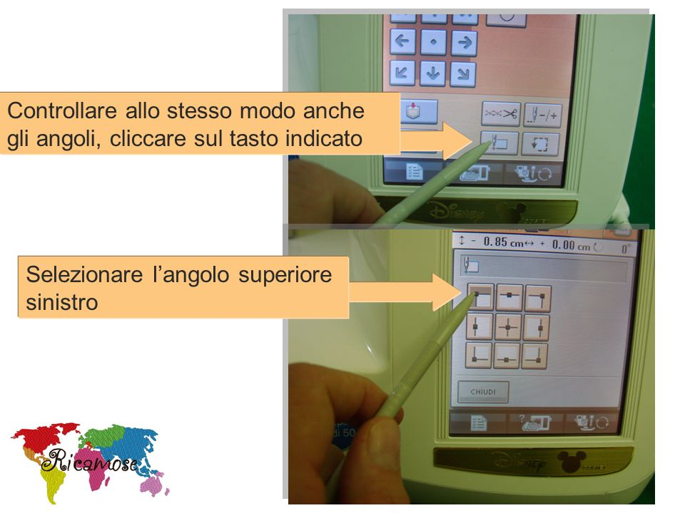 Controllare allo stesso modo anche gli angoli, cliccare sul tasto indicato