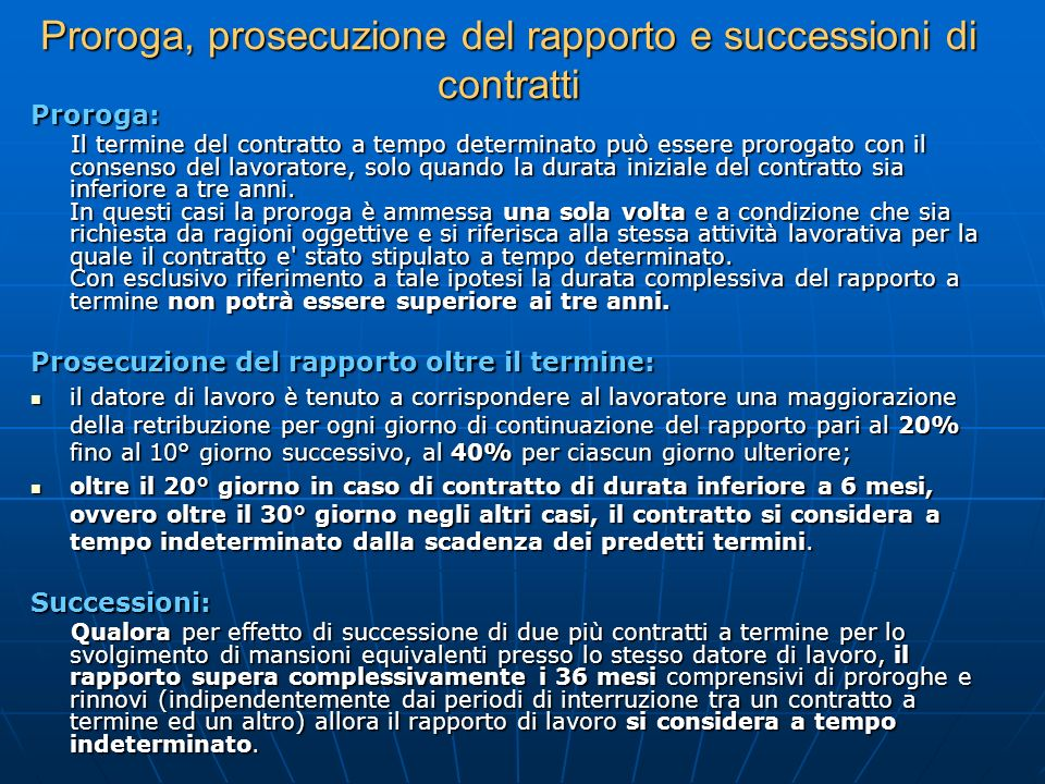 Proroga, prosecuzione del rapporto e successioni di contratti
