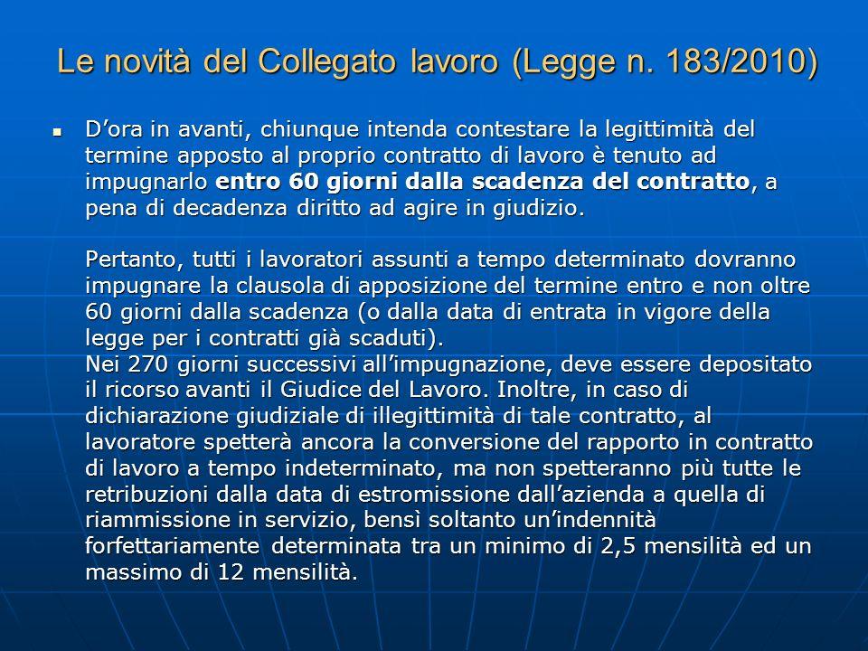 Le novità del Collegato lavoro (Legge n. 183/2010)