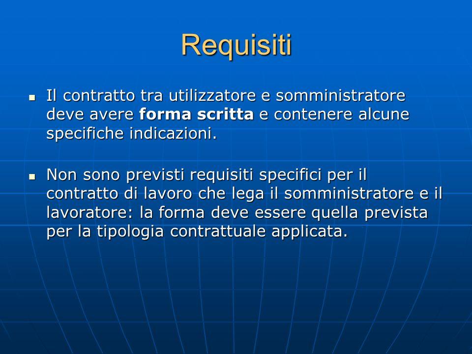 RequisitiIl contratto tra utilizzatore e somministratore deve avere forma scritta e contenere alcune specifiche indicazioni.