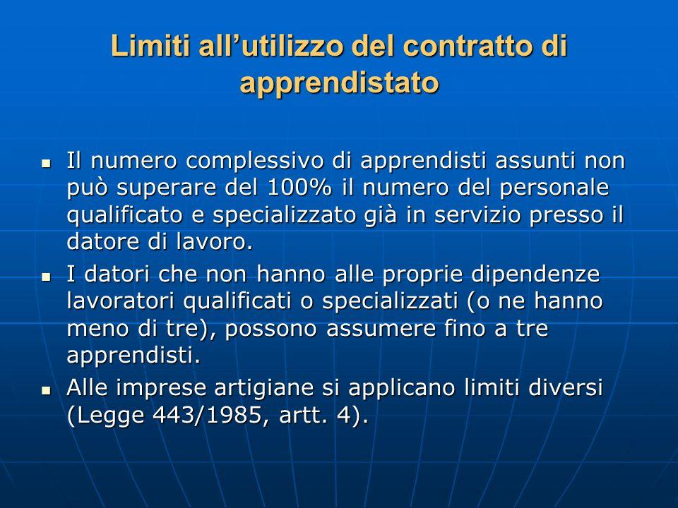 Limiti all'utilizzo del contratto di apprendistato