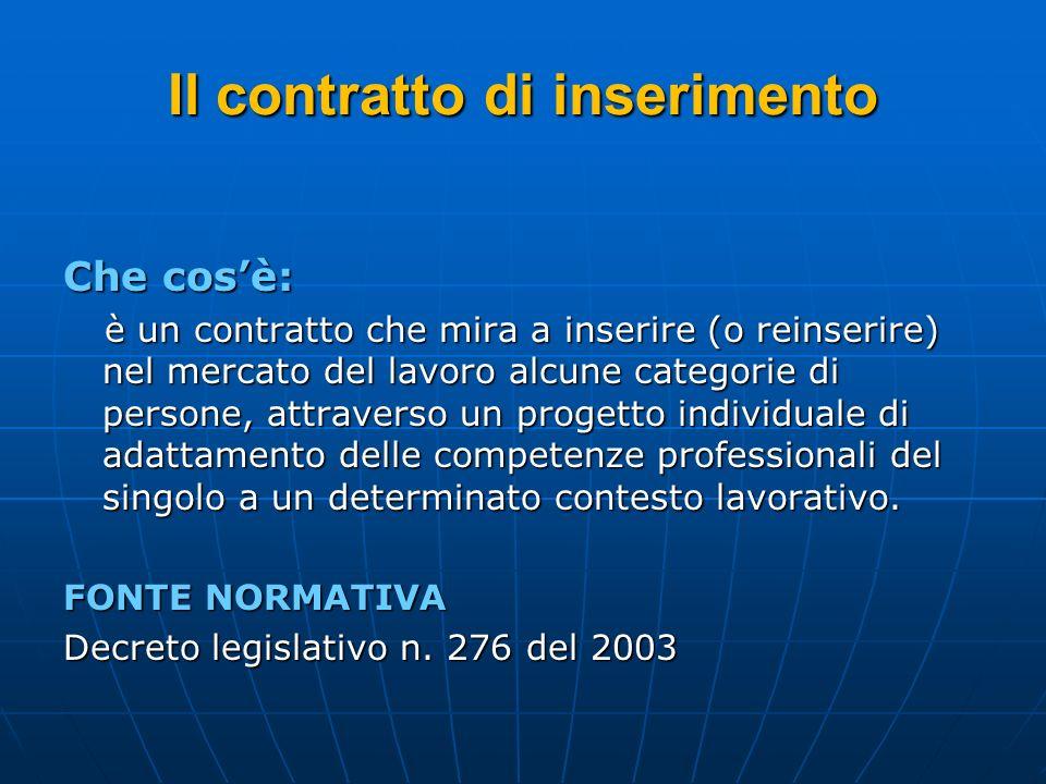 Il contratto di inserimento