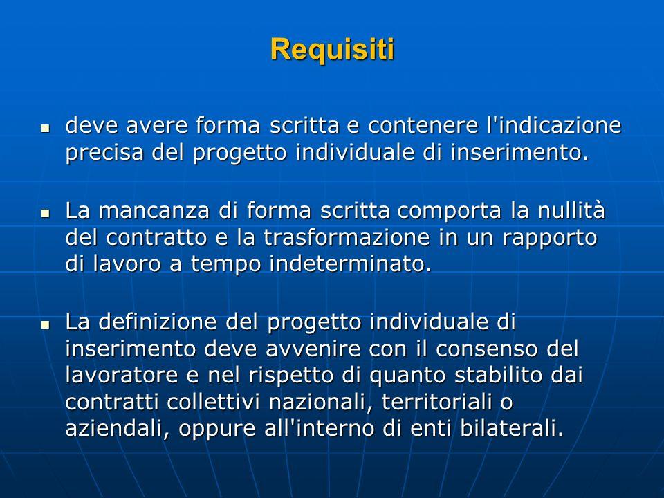 Requisitideve avere forma scritta e contenere l indicazione precisa del progetto individuale di inserimento.