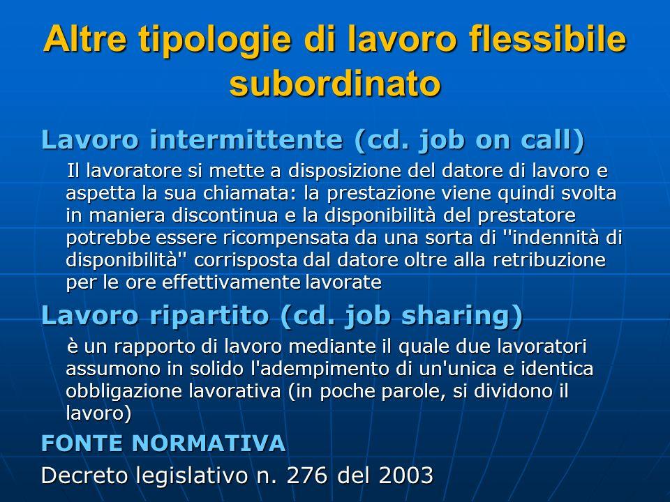 Altre tipologie di lavoro flessibile subordinato