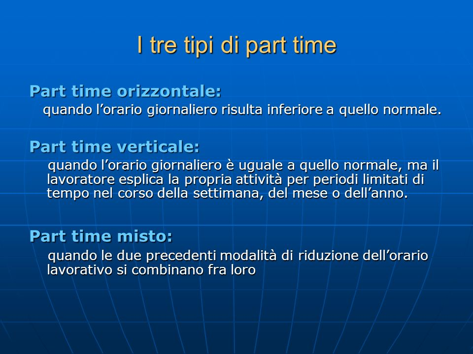 I tre tipi di part time Part time orizzontale: Part time verticale: