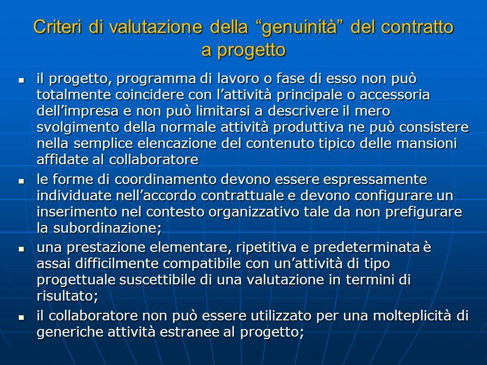 Criteri di valutazione della genuinità del contratto a progetto