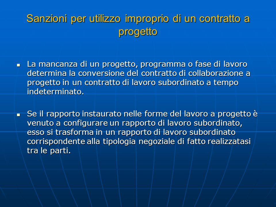 Sanzioni per utilizzo improprio di un contratto a progetto