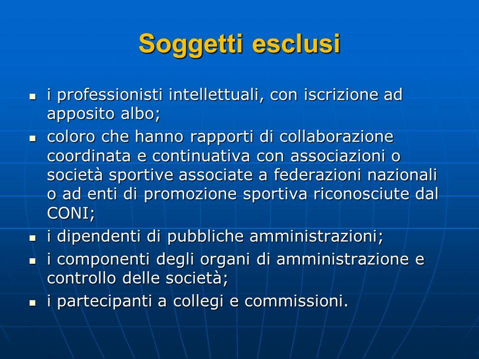 Soggetti esclusi i professionisti intellettuali, con iscrizione ad apposito albo;