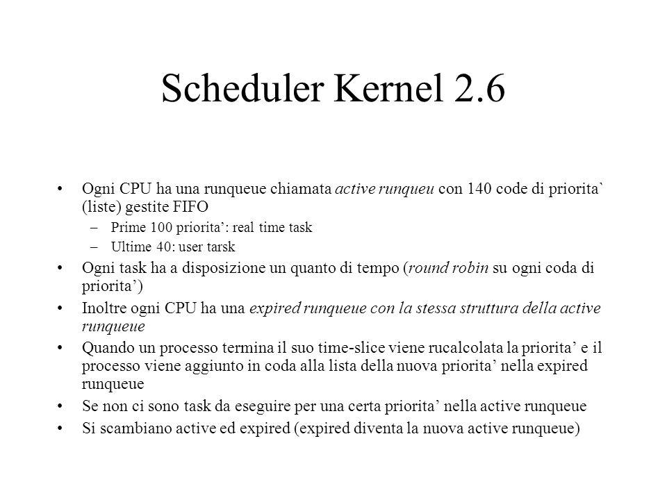 Scheduler Kernel 2.6 Ogni CPU ha una runqueue chiamata active runqueu con 140 code di priorita` (liste) gestite FIFO.
