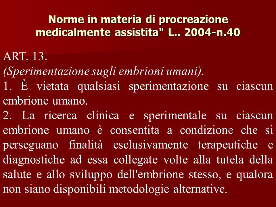 Norme in materia di procreazione medicalmente assistita L.. 2004-n.40