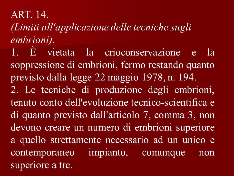ART. 14. (Limiti all applicazione delle tecniche sugli embrioni).