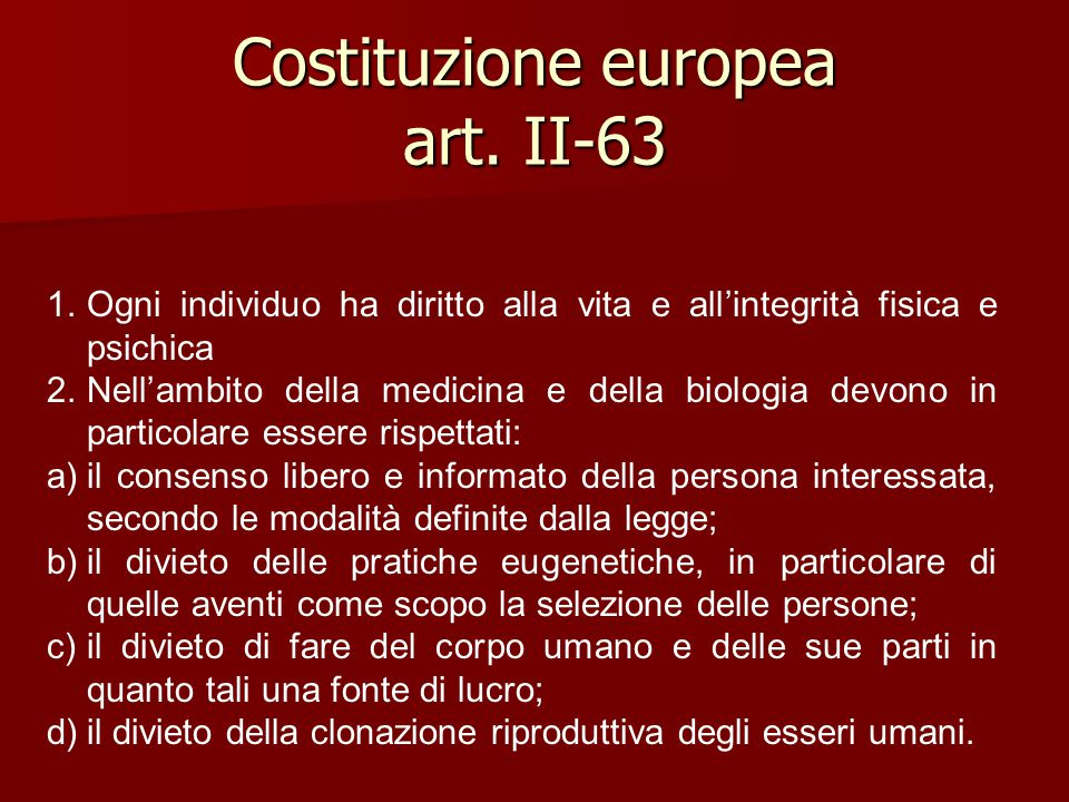 Costituzione europea art. II-63