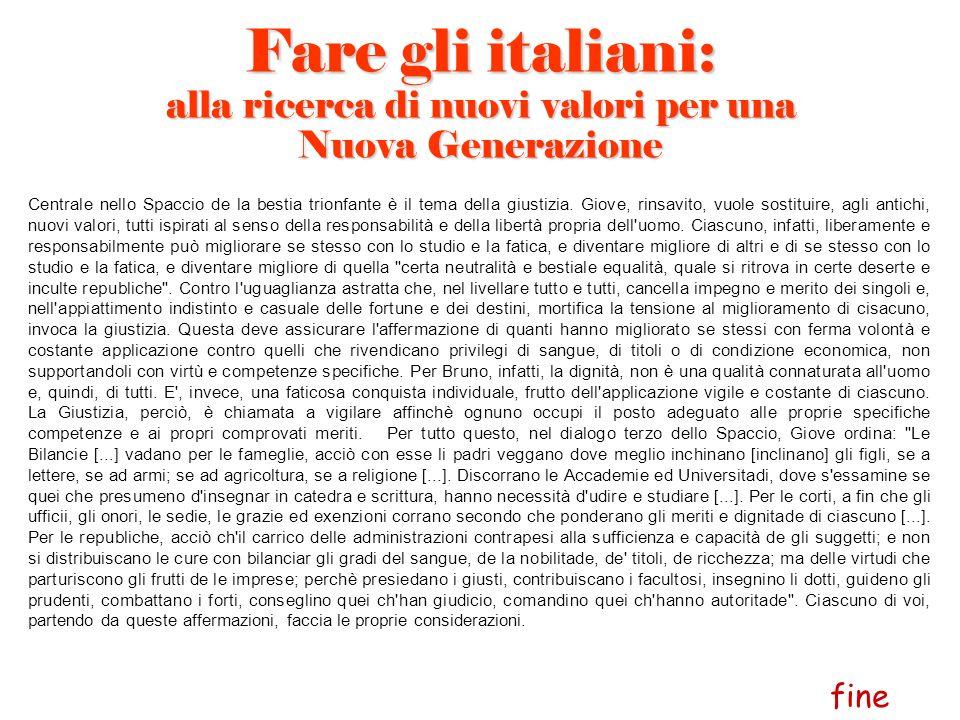 Fare gli italiani: alla ricerca di nuovi valori per una Nuova Generazione