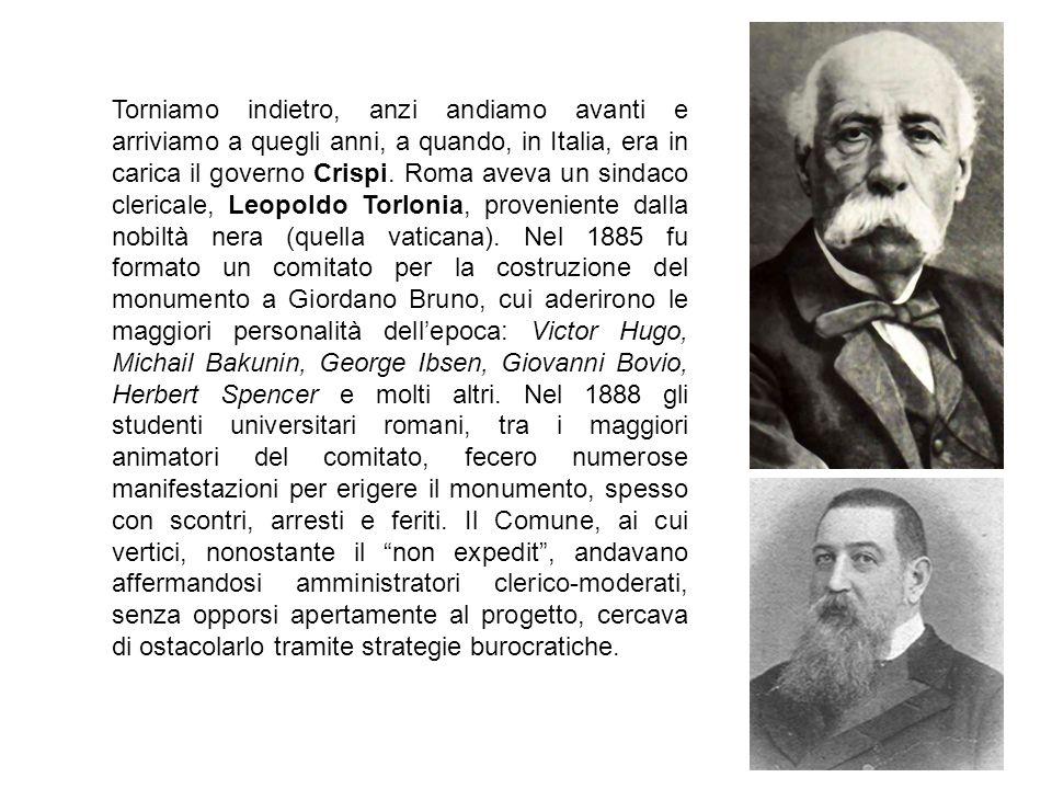 Torniamo indietro, anzi andiamo avanti e arriviamo a quegli anni, a quando, in Italia, era in carica il governo Crispi.